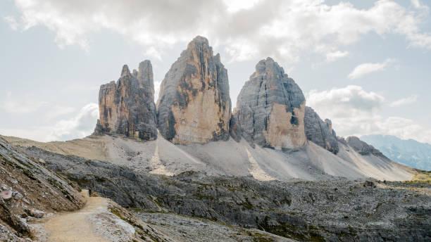 Three cime dolomites mountains stock photo