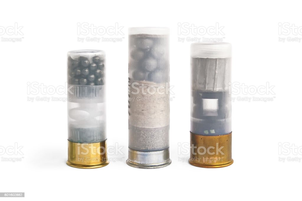 Three clear plastic patron for the rifle stock photo