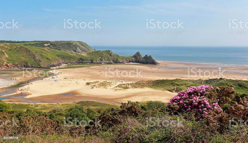 Three Cliffs Bay - Gower Peninsular stock photo