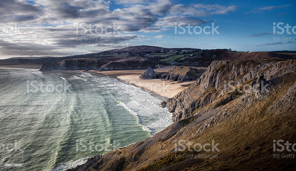 Three Cliffs Bay Gower stock photo