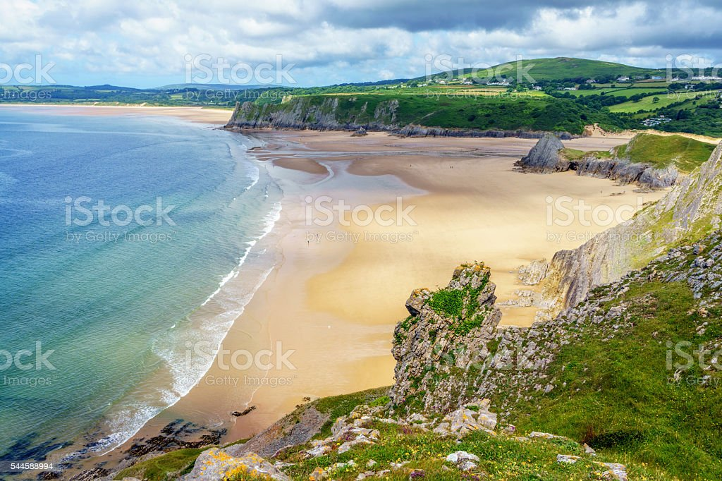Three Cliffs Bay on Gower stock photo