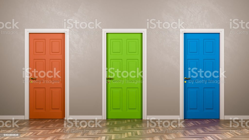 Three Closed Doors in the Room foto stock royalty-free