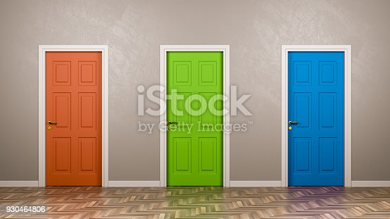 Three Closed Doors with Different Color in Front in the Room 3D Illustration, Choice Concept