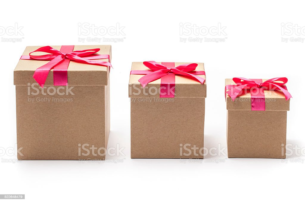Three Closed Present Boxes in Different Sizes stock photo