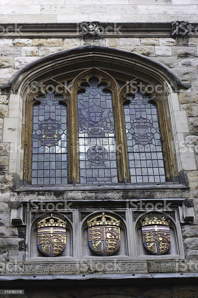 Three coat of arms at St. John's Gate Clerkenwell London stock photo