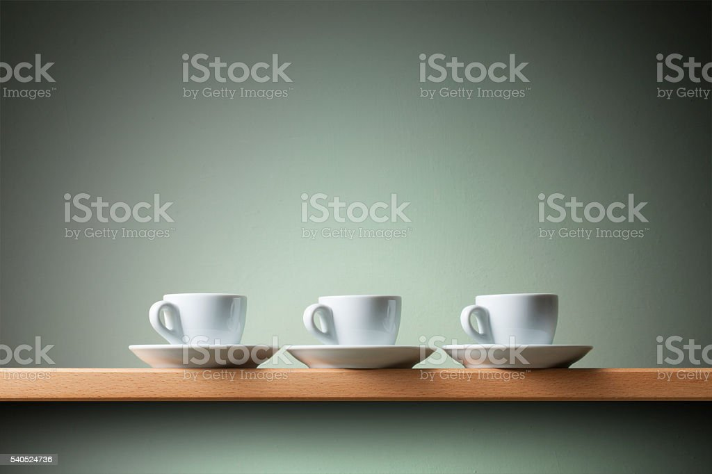 Three coffee cups stock photo