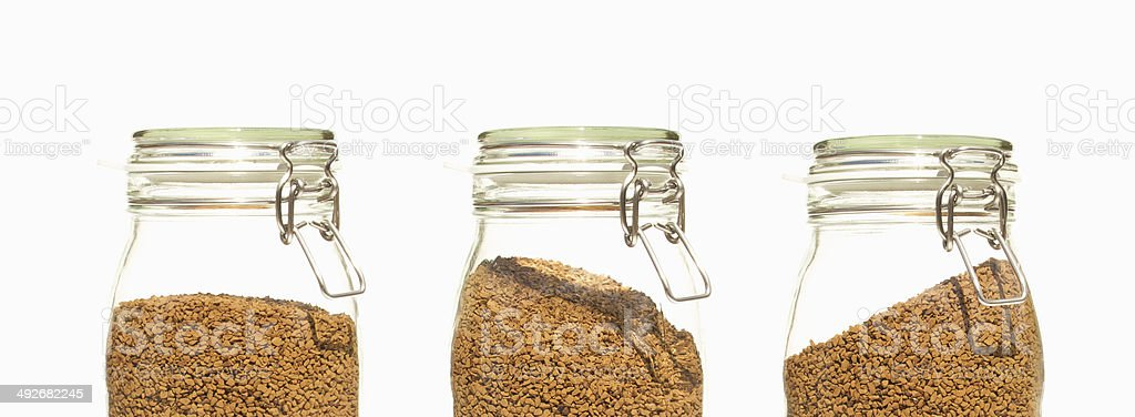 Three Coffee Jars Glass clip top preserve stock photo