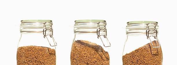 Three Coffee Jars Glass clip top preserve stock photo