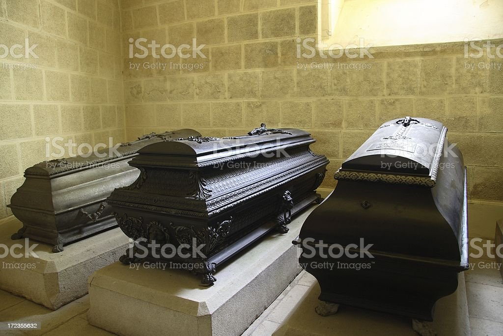 Three Coffins royalty-free stock photo