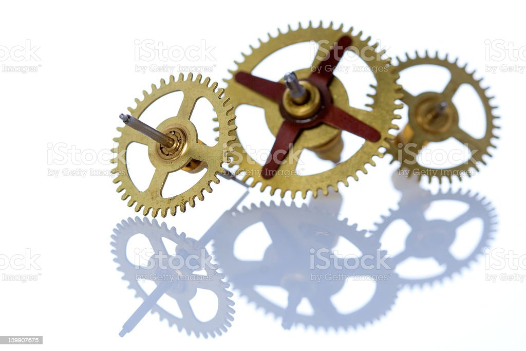Three cog wheels and their reflection royalty-free stock photo