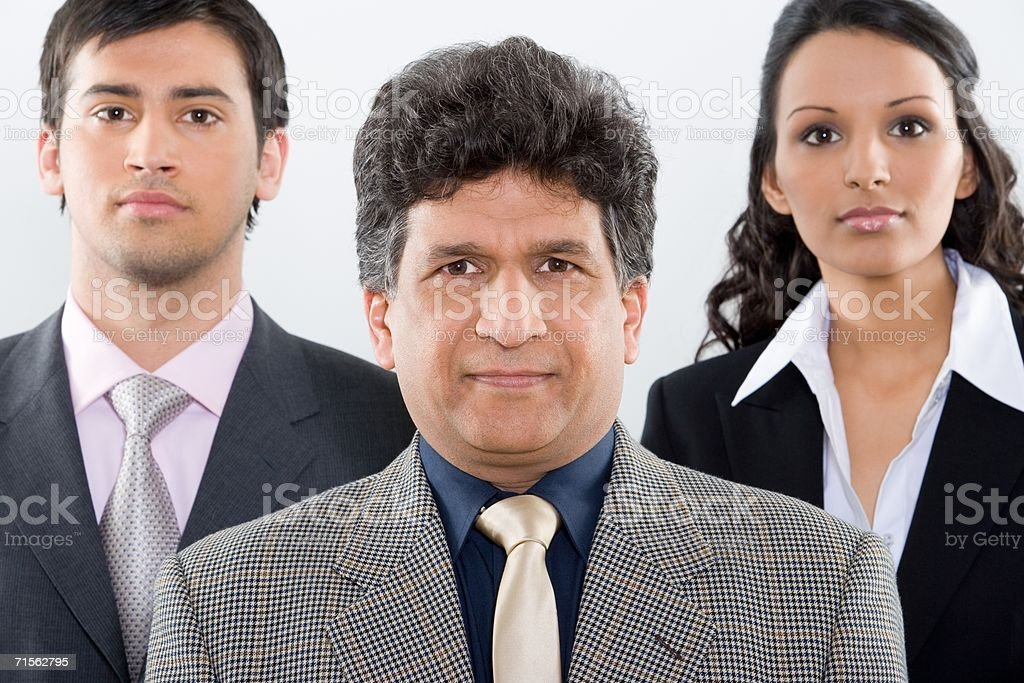 Three colleagues in a row royalty-free stock photo