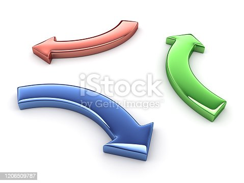 istock Three color arrows isolated on white background. 3D render. 1206509787