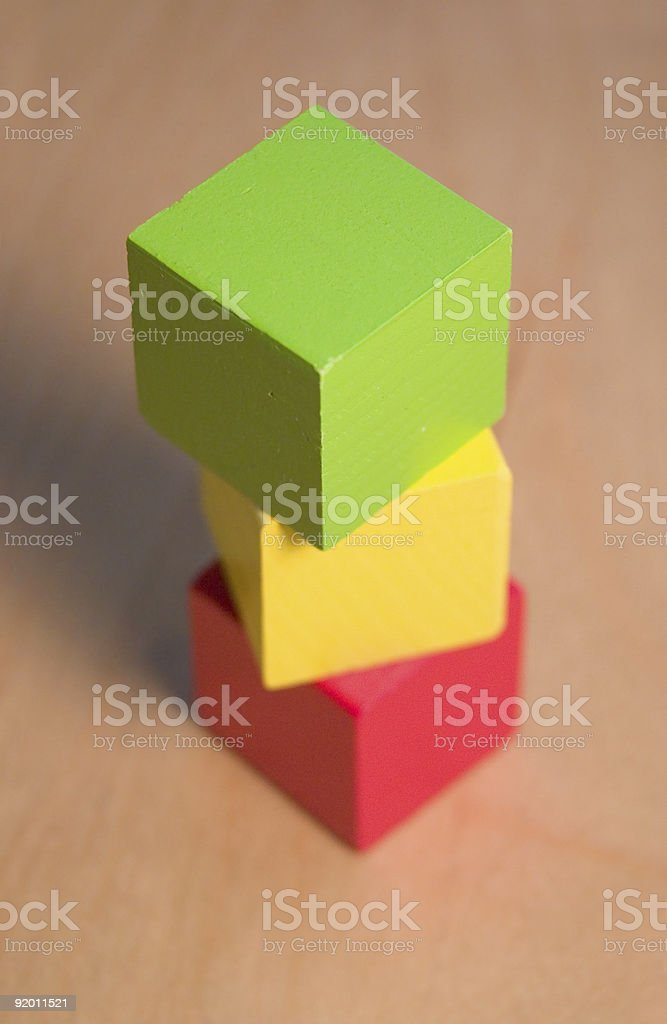 Three Color Blocks Stacked Up royalty-free stock photo