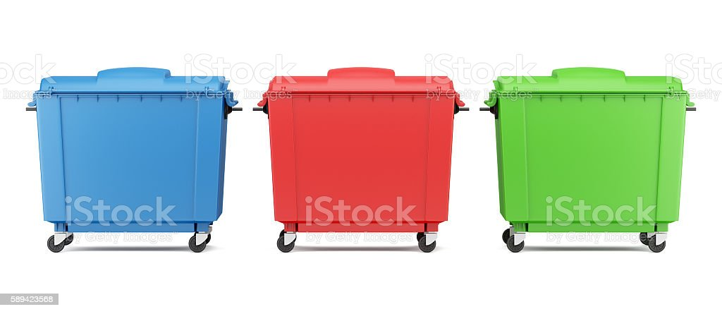 three color garbage containers isolated on white background stock photo