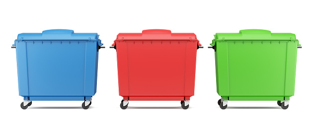 Three Color Garbage Containers Isolated On White Background-foton och fler bilder på Avfallsbehållare