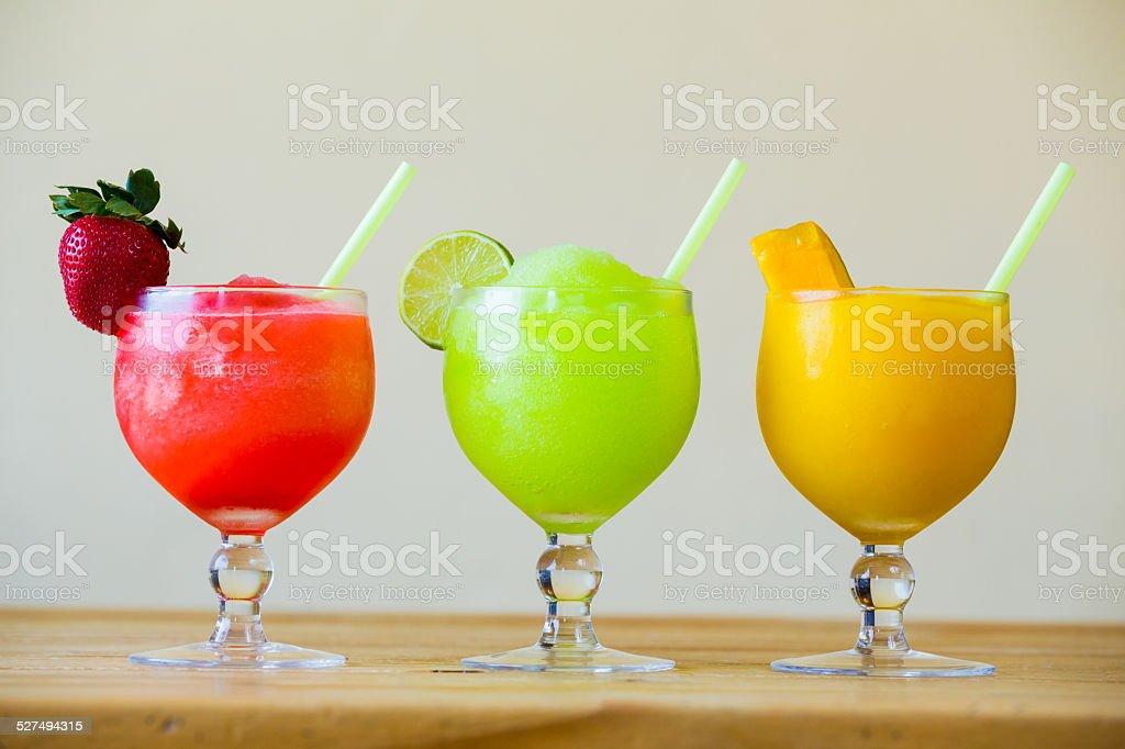 Three Color Margarita Drink Specials stock photo