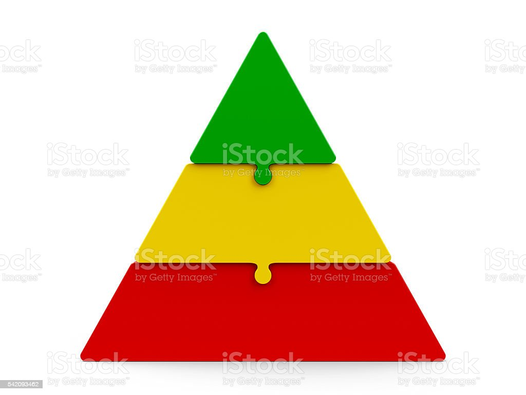 Three color puzzle pyramid stock photo