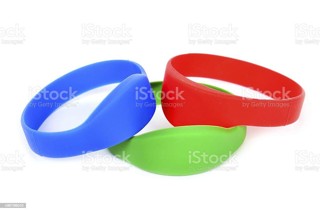 three color rfid bracelet stock photo