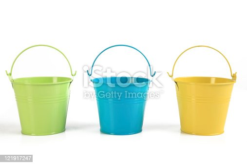Buckets in three colors, isolated on white