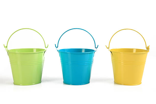Three colored buckets stock photo