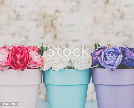 Three colored flowerpots with roses and copy space