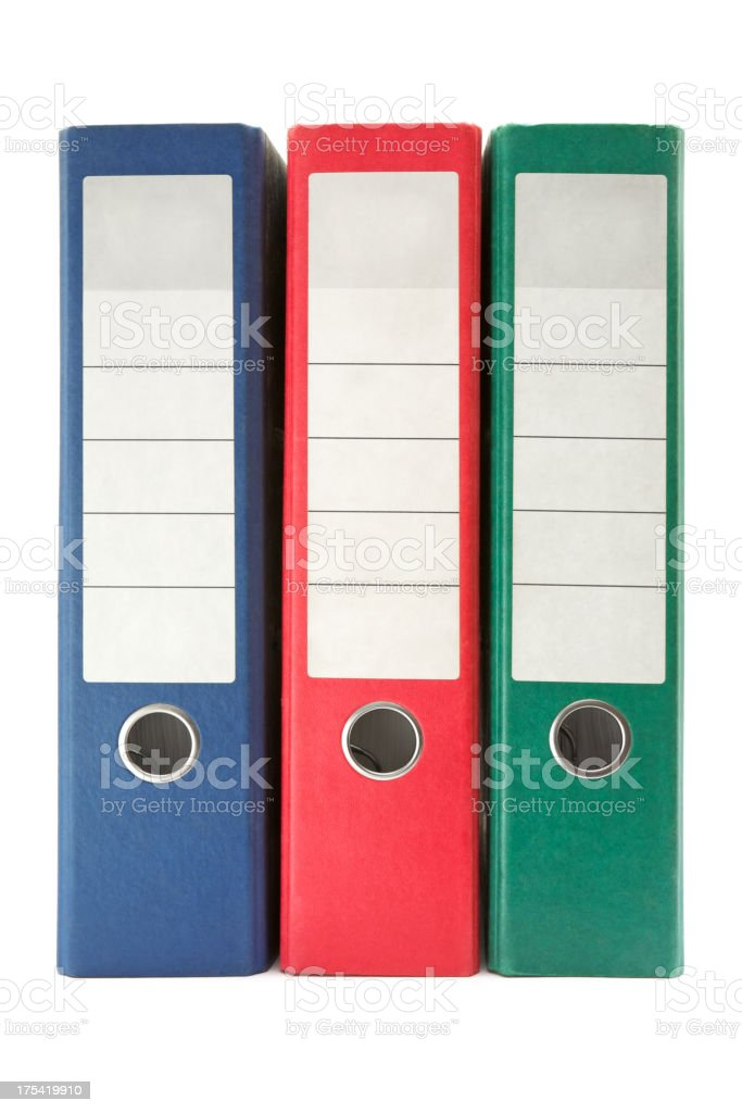 Three Colored Ring Binders stock photo