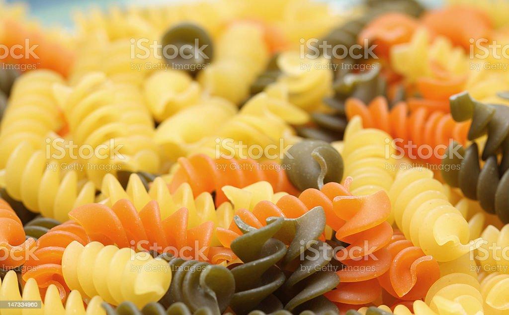 three colored rotini royalty-free stock photo