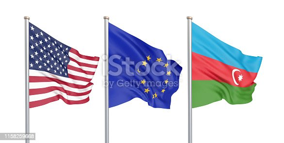 istock Three colored silky flags in the wind: USA (United States of America), EU (European Union) and Azerbaijan isolated on white. 3D illustration. 1158259668