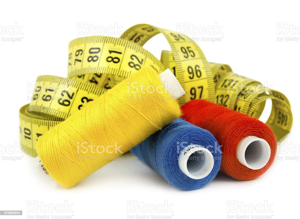 Three colored spools royalty-free stock photo