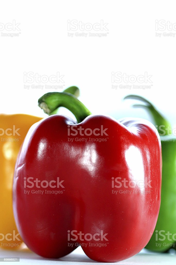 Three Colorful Bell Peppers royalty-free stock photo