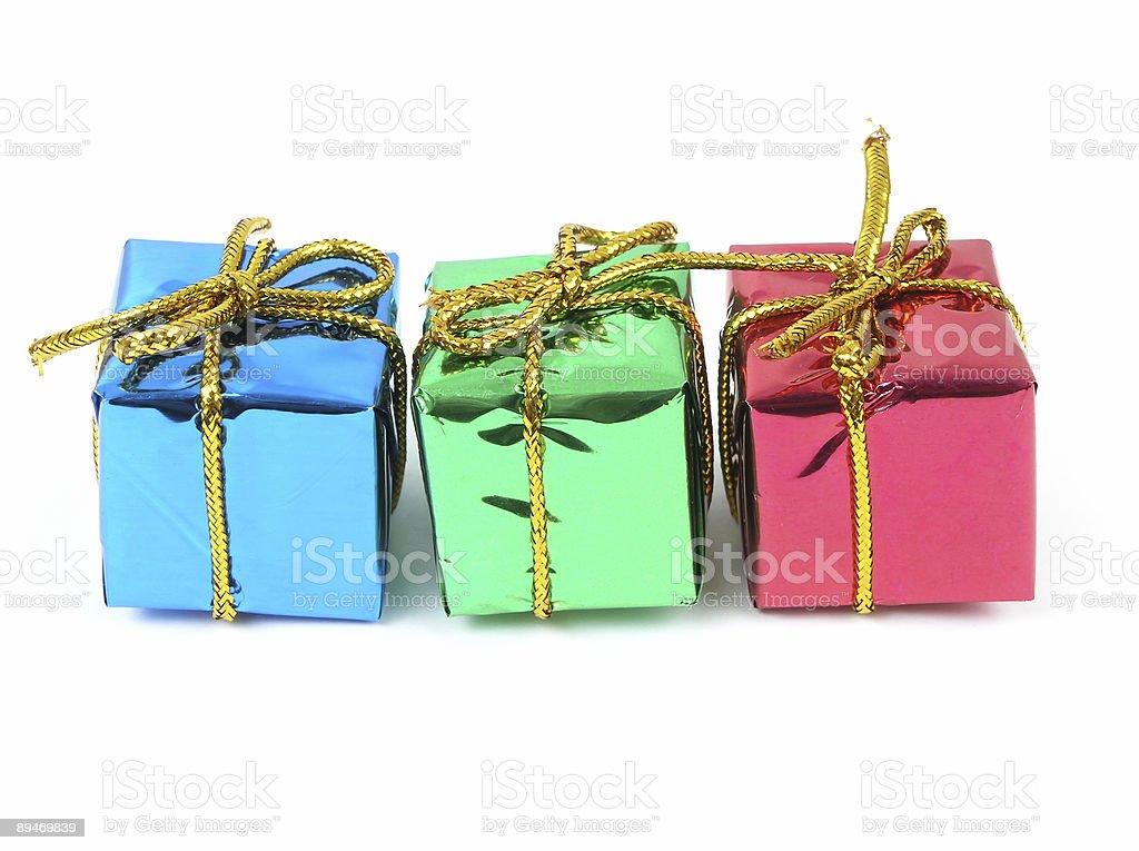 Drei bunte Geschenke Lizenzfreies stock-foto