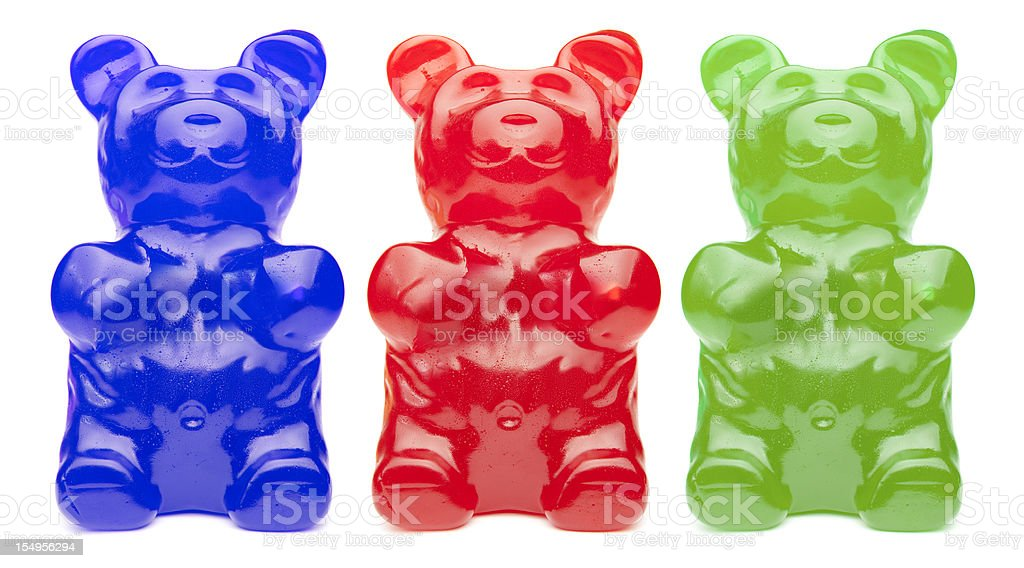 Three Colorful Gummy Bears stock photo