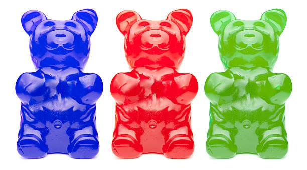 Three Colorful Gummy Bears stock photo