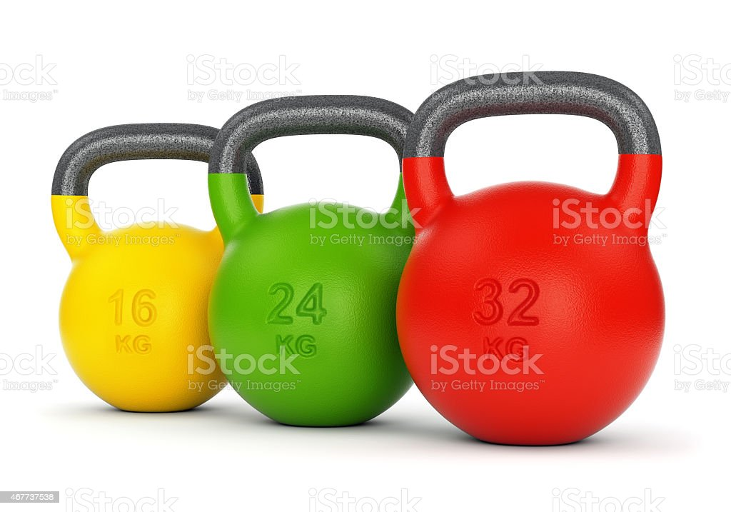 Three colorful kettlebells stock photo