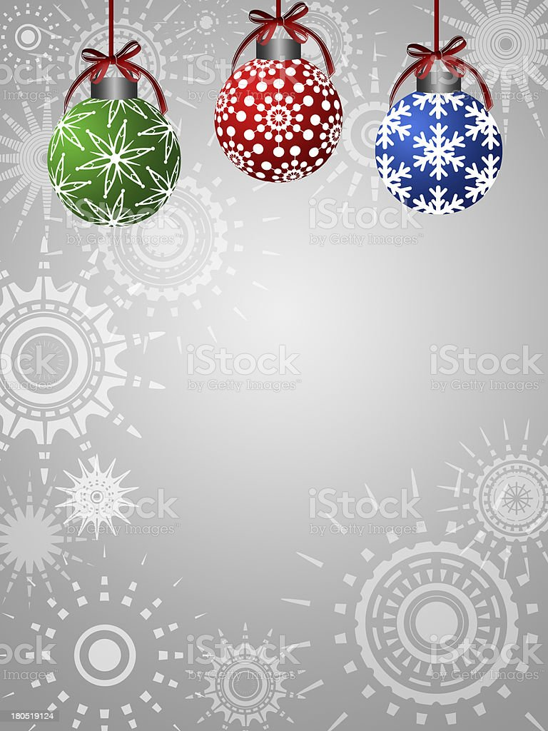 Three Colorful Ornaments on Silver Background royalty-free stock photo