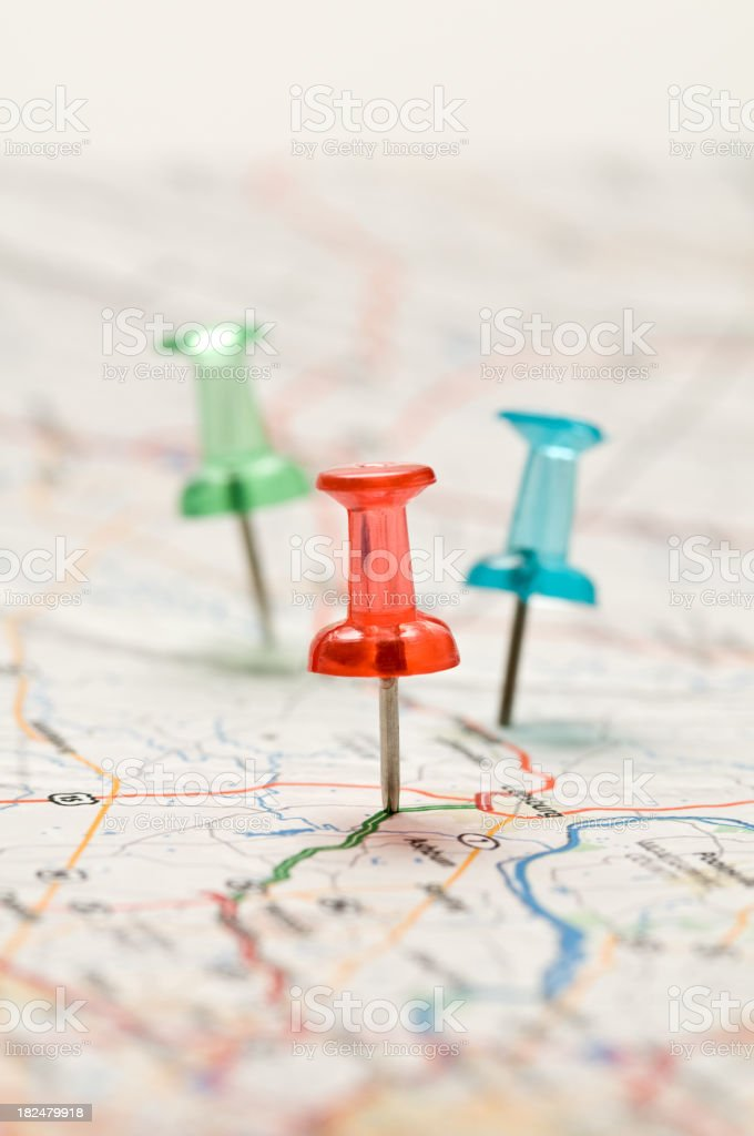 Three colorful pushpins royalty-free stock photo