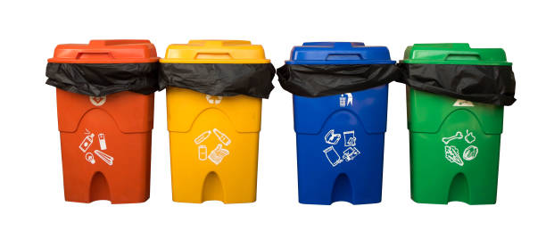three colorful recycle bins isolated on white background with the clipping path. selection path. - recycling bin stock photos and pictures