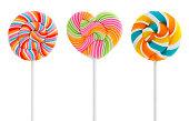 Three Colorful Swirl Lollipops