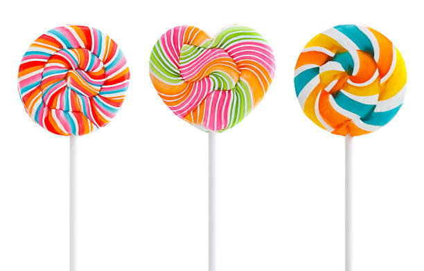 three colorful swirl lollipops - candy stock pictures, royalty-free photos & images