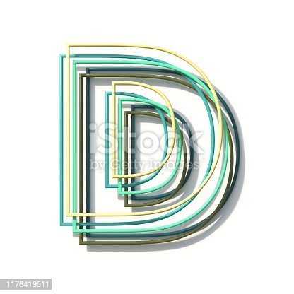 184385936 istock photo Three colors line font Letter D 3D 1176419511