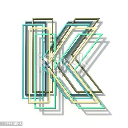 513565925istockphoto Three colors line font Letter K 3D 1176419548