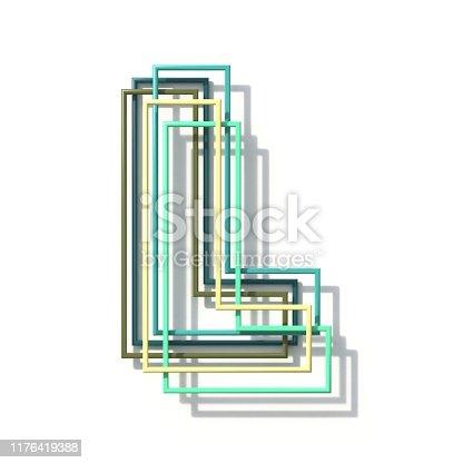 513565925istockphoto Three colors line font Letter L 3D 1176419388