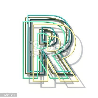 513565925 istock photo Three colors line font Letter R 3D 1176419441