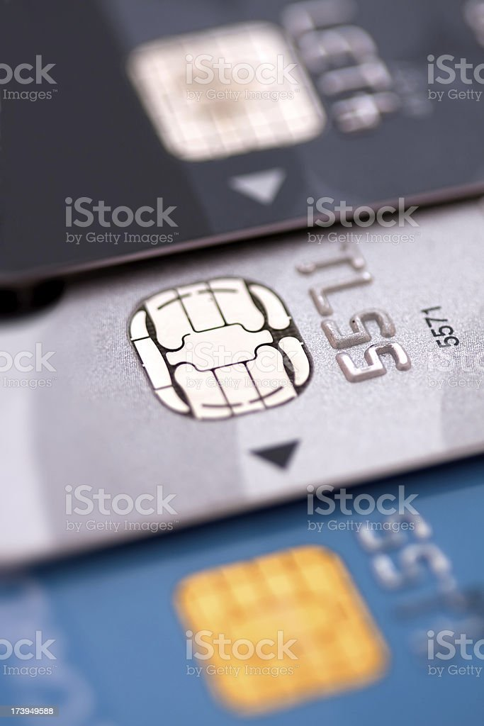 Three colors of credit cards - Macro shot stock photo