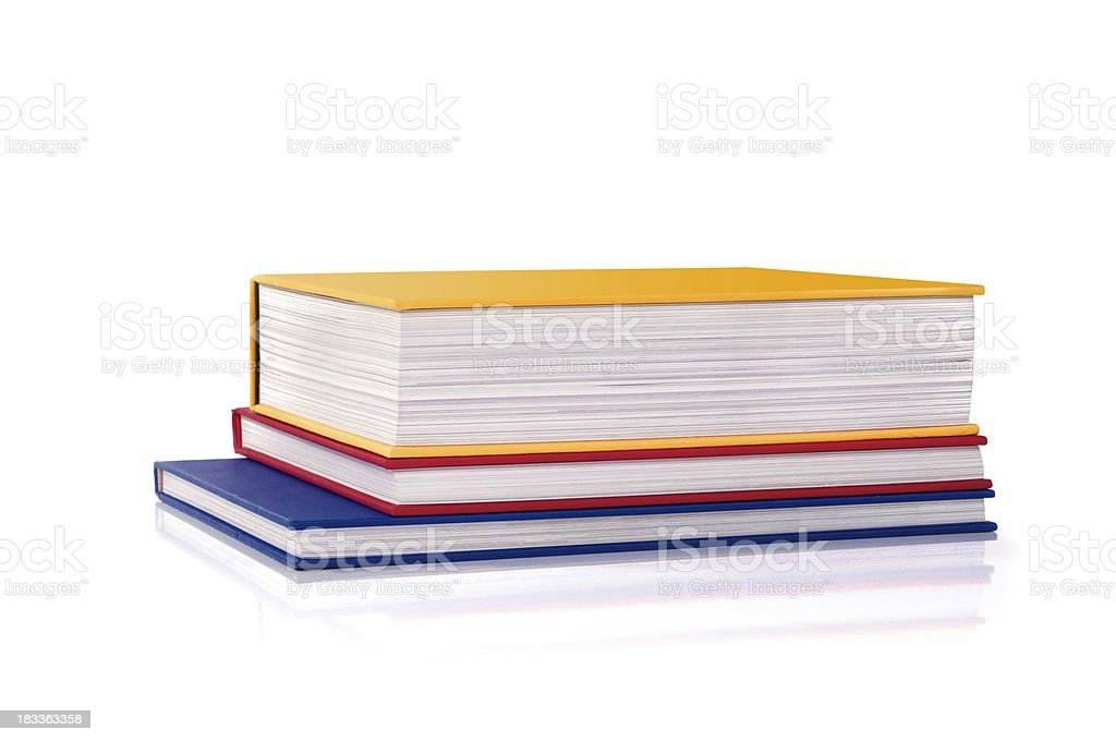 Three colour books stacked royalty-free stock photo