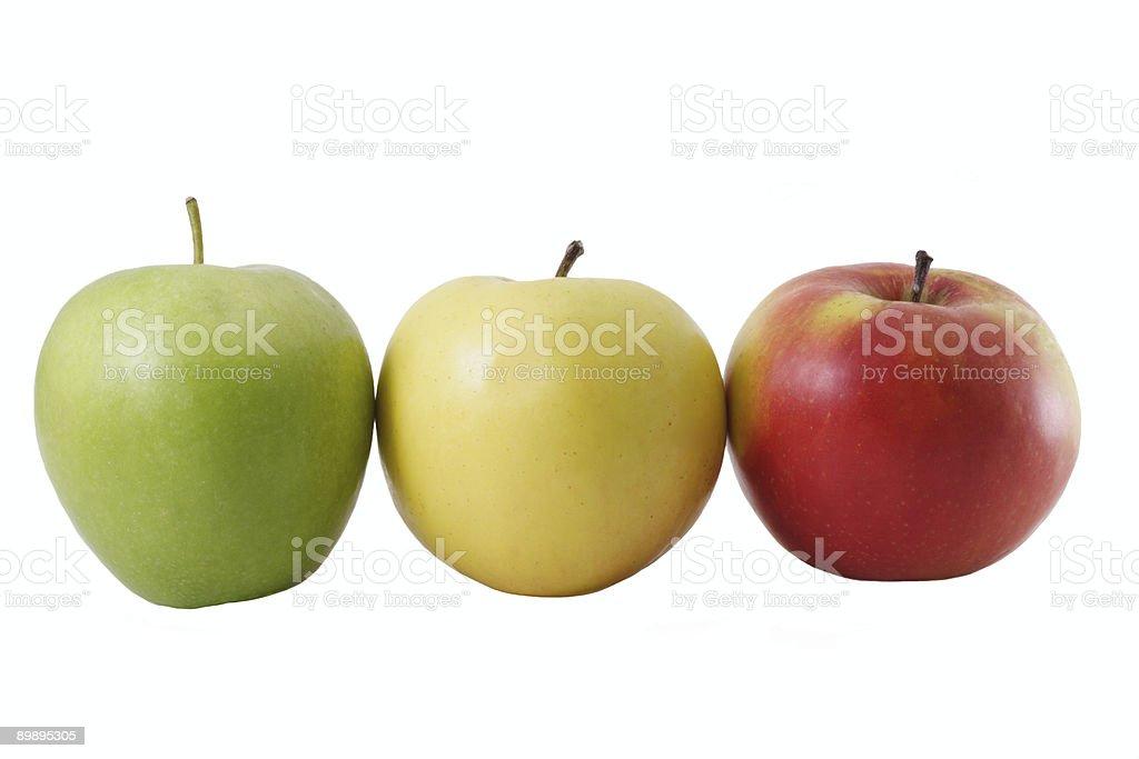 Three coloured apple royalty-free stock photo
