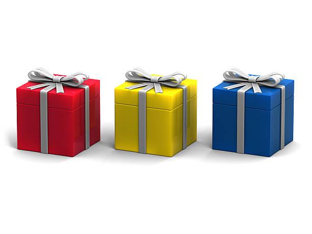 Three Colourful Giftbox Isolated on White Background stock photo