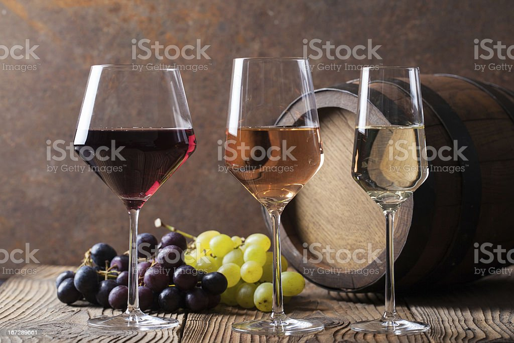 Three colours of wine stock photo
