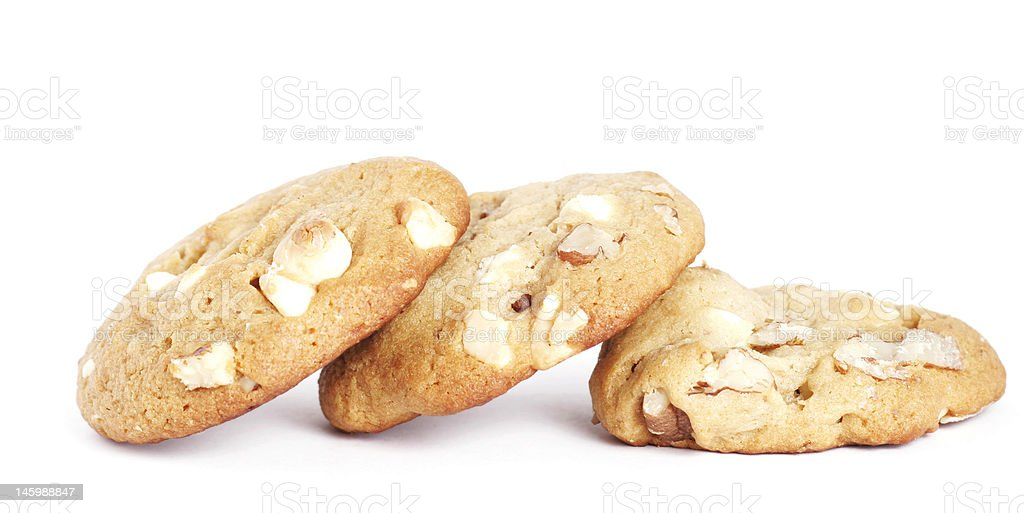 Three Cookie Biscuits With White Chocolate And Nuts royalty-free stock photo