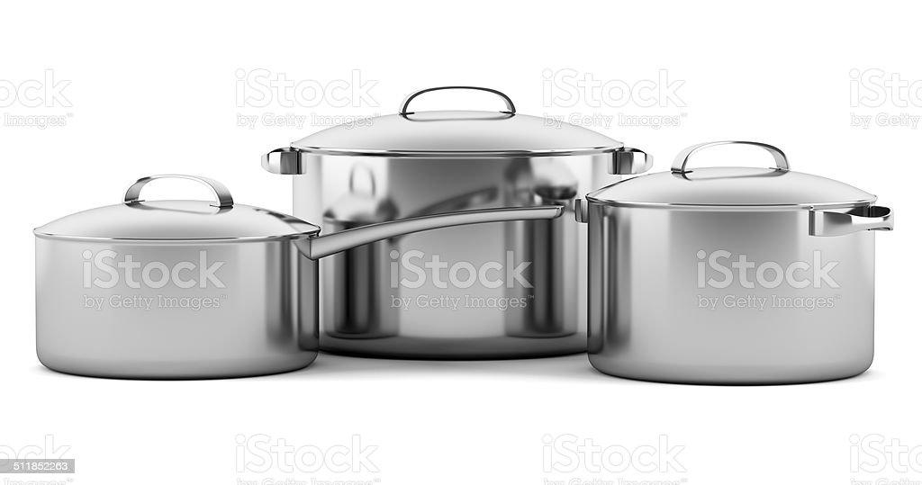 three cooking pans isolated on white background stock photo